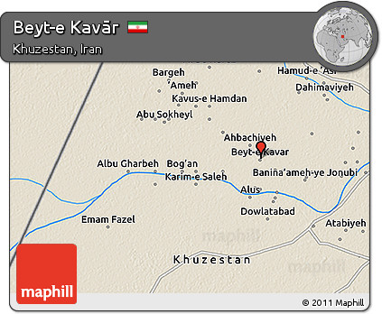 Shaded Relief 3D Map of Beyt-e Kavār