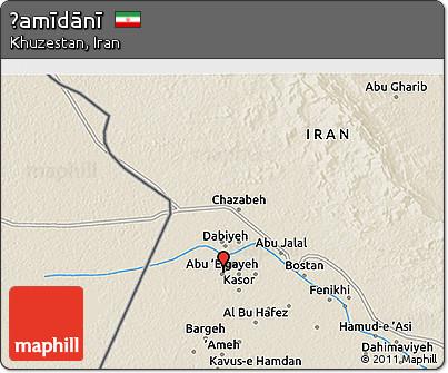 Shaded Relief 3D Map of Ḩamīdānī