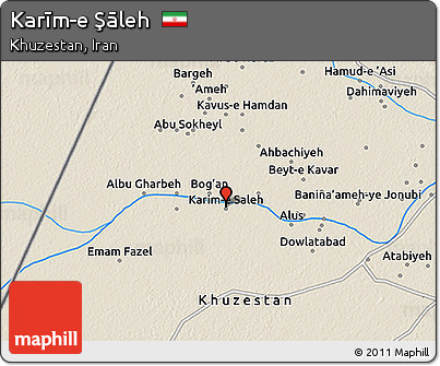 Shaded Relief 3D Map of Karīm-e Şāleh