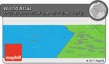 """Political Panoramic Map of the Area around 31°39'38""""N,47°40'29""""E"""