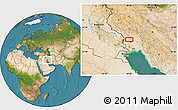 Satellite Location Map of Mālekīyeh