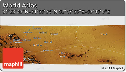 """Physical Panoramic Map of the Area around 31°39'38""""N,52°46'29""""E"""