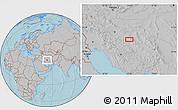 Gray Location Map of Mazra`eh-ye Taqavīyeh, hill shading