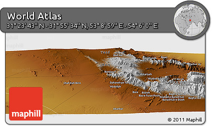 """Physical Panoramic Map of the Area around 31°39'38""""N,53°37'30""""E"""