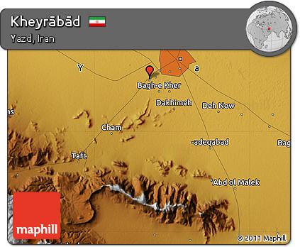 Physical Map of Kheyrābād