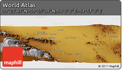 "Physical Panoramic Map of the Area around 31° 39' 38"" N, 54° 28' 30"" E"