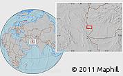 Gray Location Map of Charkh Gavak-e Pā'īn, hill shading