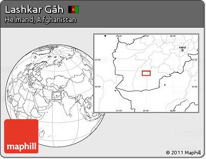Blank Location Map of Lashkar Gāh