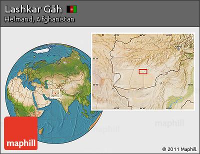Satellite Location Map of Lashkar Gāh