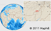 """Shaded Relief Location Map of the area around 31°39'38""""N,68°4'29""""E"""