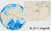 """Shaded Relief Location Map of the area around 31°39'38""""N,68°55'30""""E"""
