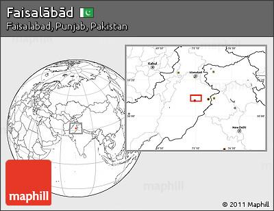 Blank Location Map of Faisalābād