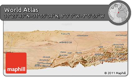 "Satellite Panoramic Map of the Area around 31°39'38""N,7°34'30""W"