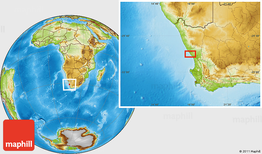 Physical Location Map of Tahiti on