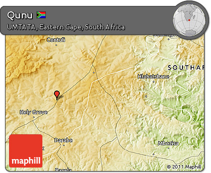 Free Physical 3D Map of Qunu
