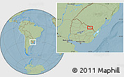 """Savanna Style Location Map of the area around 31°49'7""""S,54°19'30""""W, hill shading"""