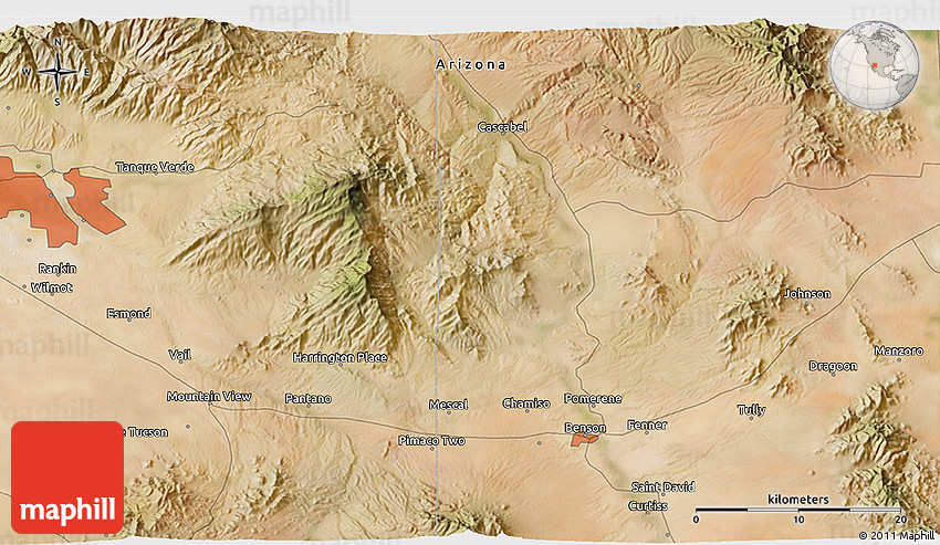 Map Of Arizona Hot Springs.Satellite 3d Map Of Hookers Hot Springs
