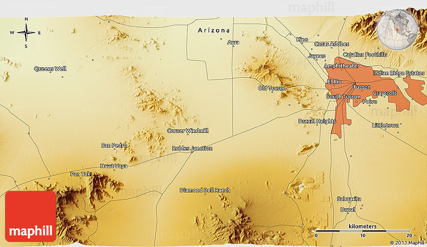 Physical 3d Map Of Pascua Yaqui Indian Village