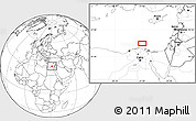 """Blank Location Map of the area around 32°8'5""""N,31°31'29""""E"""