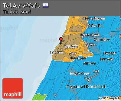 Political 3D Map of Tel Aviv-Yafo
