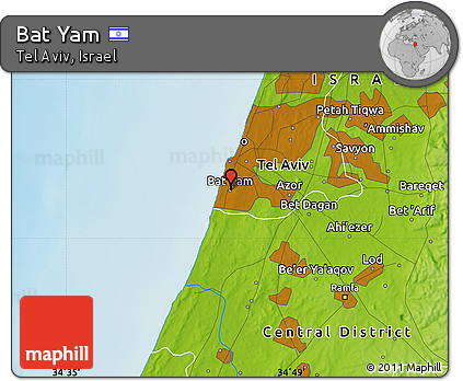 Free Physical Map of Bat Yam