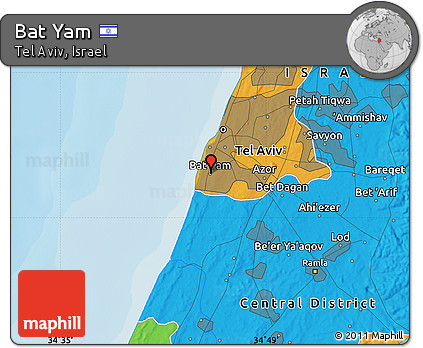 Free Political Map of Bat Yam