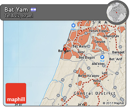 Free Shaded Relief Map of Bat Yam