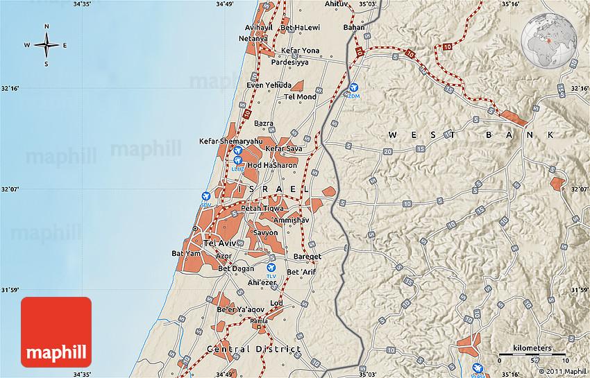 Shaded Relief Map Of Ramat Gan - Ramat gan map