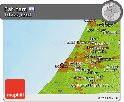 Free Physical Panoramic Map of Bat Yam