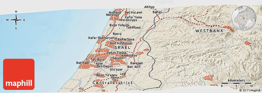 Shaded Relief Panoramic Map Of Ramat Gan - Ramat gan map
