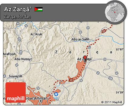 Free Shaded Relief Map of Az Zarq