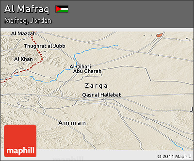 Shaded Relief Panoramic Map of Al Mafraq