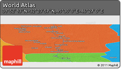 """Political Panoramic Map of the Area around 32°8'5""""N,45°58'30""""E"""
