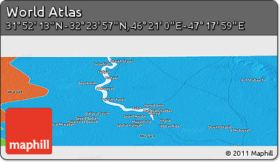 """Political Panoramic Map of the Area around 32°8'5""""N,46°49'30""""E"""