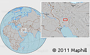 Gray Location Map of Āb Chahrū, hill shading