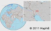 Gray Location Map of Āb Chahrū