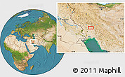Satellite Location Map of Shahrak-e Abūzār