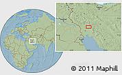 Savanna Style Location Map of Āb Chahrū, hill shading