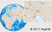 Shaded Relief Location Map of Shahrak-e Abūzār