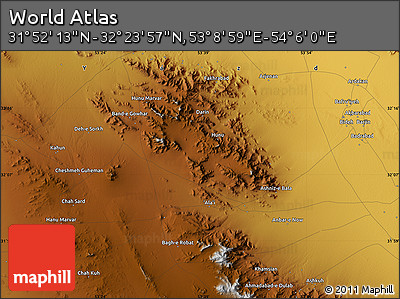 """Physical Map of the Area around 32°8'5""""N,53°37'30""""E"""