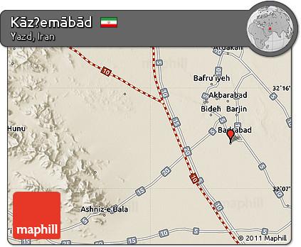 Shaded Relief Map of Kāz̧emābād