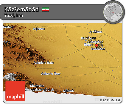 Physical Panoramic Map of Kāz̧emābād