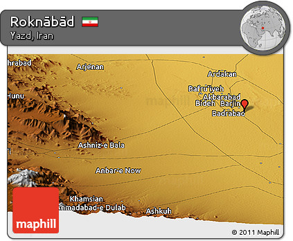Physical Panoramic Map of Roknābād