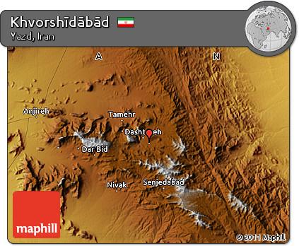 Physical Map of Khvorshīdābād