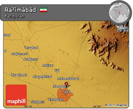 Physical Map of Raḩīmābād