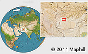 """Satellite Location Map of the area around 32°8'5""""N,62°58'30""""E"""