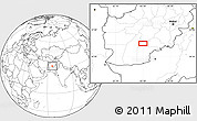 """Blank Location Map of the area around 32°8'5""""N,65°31'30""""E"""
