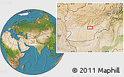 """Satellite Location Map of the area around 32°8'5""""N,65°31'30""""E"""