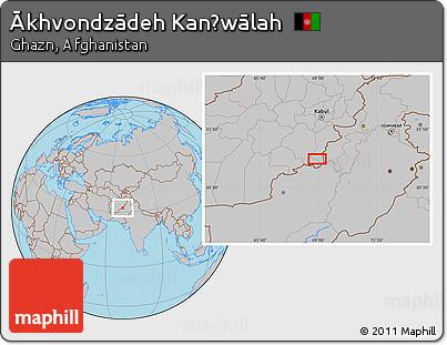Gray Location Map of Ākhvondzādeh Kanḏwālah