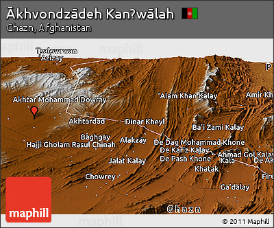 Physical Panoramic Map of Ākhvondzādeh Kanḏwālah